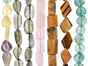 Multi-Stone Bead Strand Set of 7 in Assorted Shapes appx 15-16