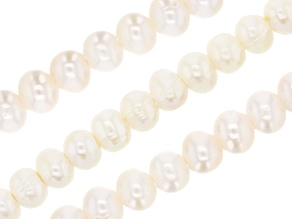 White Cultured Freshwater Large Hole Potato appx 6-7mm Shape Pearl Bead Strand Set of 3 appx 8""