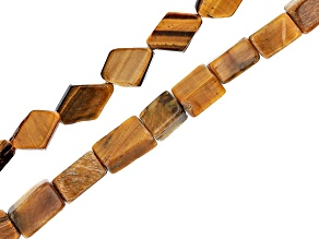 "Tigers Eye Rectangle and Flat Diamond Shape Bead Strand Set of 2 appx 15-16"""