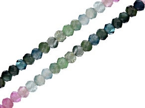 Multi-Tourmaline Faceted Round appx 1.5-2mm Bead Strand Set of 2 appx 12.5""