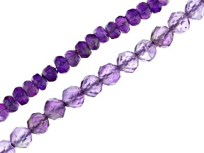 Amethyst Faceted Round & Rondelle Bead Strand Set of 2 appx 15-16""