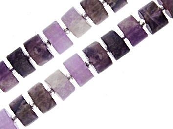 """Picture of Matte Banded Amethyst Wheel appx 9x5-11x5mm Shape Bead Strand Set of 2 appx 15-16"""""""