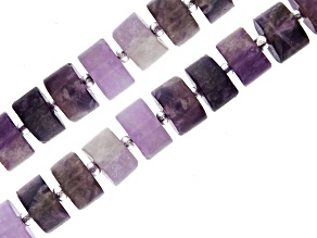 """Matte Banded Amethyst Wheel appx 9x5-11x5mm Shape Bead Strand Set of 2 appx 15-16"""""""