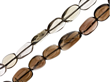 Picture of Smoky Quartz Oval appx 4-6mm Shape and Free-Form Nugget appx 4x3-13x10mm Shape Bead Strand Set of 2