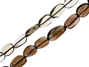 Smoky Quartz Oval appx 4-6mm Shape and Free-Form Nugget appx 4x3-13x10mm Shape Bead Strand Set of 2