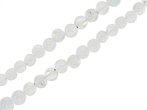 White Moonstone Graduated Round appx 2-5mm Bead Strand Set of 2 appx 15-16""