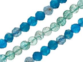 "Neon Apatite & Blue Apatite Round Bead Strand Set of 3 appx 15-16"""