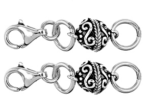 Magnetic Clasp Converter in Rhodium Over Sterling Silver Appx 6mm Set of 2