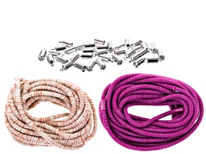 Climbing Rope 5mm Fiber Wrapped Cord Purple And Beige 10 Meters Total With Silver Tone End Caps