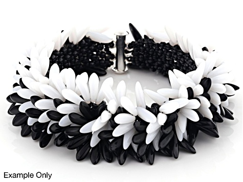 Beadweaving Funky Skunk Black And White Kit includes Beads, Fireline, And Clasp