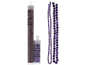 Herringbone Beadweaving Kit Tassel Necklace 4&8 mm Amethyst Strands & Purple Seed Beads