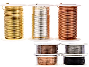 7 Pc Wire Kit: 26g Antique Cpr, Bare Cpr,Brushed Slv &Blk (30yd) & 18g Spools in Gld, Slv&Cpr (10yd)