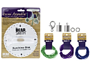 Kumihimo Ergo Handle Jewel Tones Supply Kit incl Kumihimo Disc&Handle, Rattail Cord, End Caps &Clasp