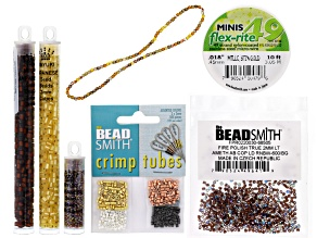 Beadweaving Peyote Beaded Beads Supply Kit-Topaz: Seed Beads, Fire Polish Mix,True 2,Flexrite&Crimps