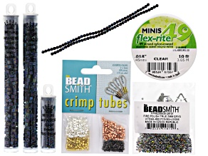 Beadweaving Peyote Beaded Beads Project Kit - Midnight incl Beads, Flexrite & Crimp Tubes