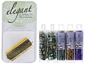 Beadweaving Tila Loom Cuff Project Kit in Gold includes Tila & Delica Beads And 1 Clasp