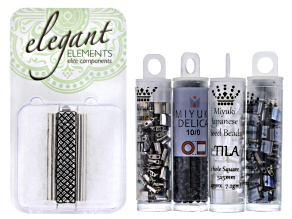 Beadweaving Tila Loom Cuff Project Kit in Silver includes Tila & Delica Beads And 1 Clasp