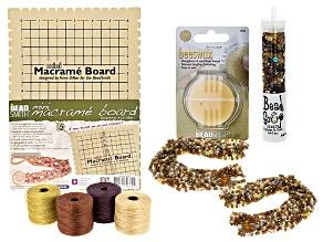 Fingerweaving Supply Kit incl Mini Macrame Board, S-Lon, Seed Beads, And Beeswax