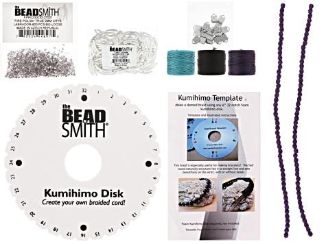 Kumihimo 1/2 Rnd Kit incl 1/2 Rnd Template, Disk, 3 Spls Slon, Ribn ...