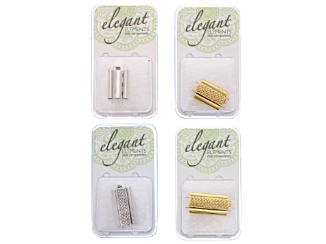 4 Piece Beadslide Clasp Kit Assorted Tone, Styles And Sizes