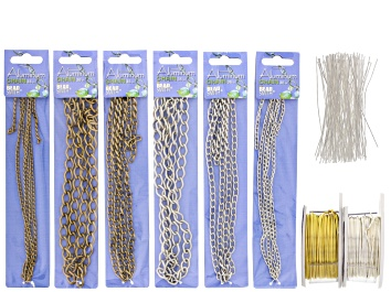Picture of Tassel Making Supply Kit includes Chain, Headpins And Craft Wire in Gold Tone & Silver Tone