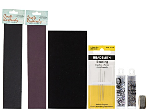 Leather Bracelet Making Supply Kit in Black/Wine incl Leather, Beads, Ultrasuede, Needle & Thread