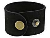 Leather Cuff in Black With Brass Snaps Appx 1.5in X 9in