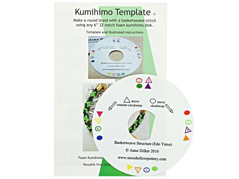 Kumihimo Template Kit & Booklet incl Kusari Tsunagi, 7 Warp Spiral ...
