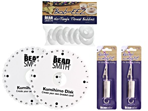 Kumihimo Disk & Supply Kit incl Single And Double Density Disks, instructions, Bobbins & Weights