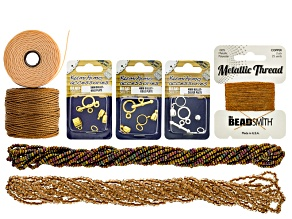 Kumihimo Warm Metallics Color Suite Supply Kit includes Beads, Thread, And Findings