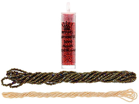 Czech Glass Seed Bead Supply Kit in 6/0 Brown Iris, 11/0 Egg Shell & 15/0 Red-Orange