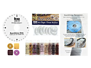 Kumihimo Supply And Project Kit incl Template, Disk, Beads, S-Lon, And Bobbins