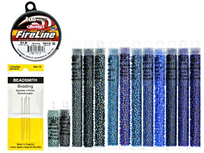 Seed Bead Supply Kit incl Sizes 8/11/15 Seed Beads in Blue Tones, Fireline & Sz 10 Beading Needles