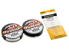 Beading Supply Kit includes Fireline in Black & Crystal Color And Beading Needles