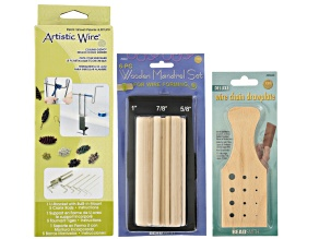 Wire Working Tool Kit incl Wire Chain Drawplate, Deluxe Coiling Gizmo & Wooden Dowel Set