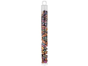 Paisley Duo 8x5mm Glass Beads in Violet Rainbow Appx 22 Gram Tube