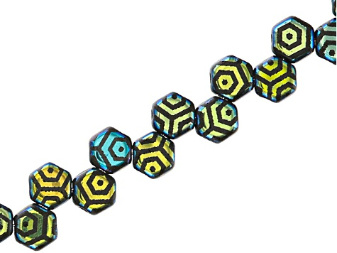 Honeycomb 6mm Glass Beads in Jet Color Laser Web Ab Appx 240 Beads