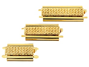 Bead Slide Clasps in Gold Tone - A Fine Ending For Stitched Beadwork 3 Piece Set