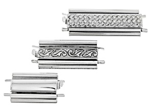 Bead Slide Clasps in Silver Tone - A Fine Ending For Stitched Beadwork 3 Piece Set