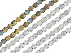 Round 4mm Glass Bead Strand Set/ 6 in Glittery Silver Color (4) & Amber Color (2)