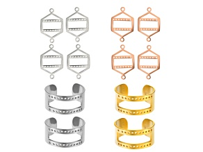 Centerline Ring & Link 12pc Findings Kit For Beading in Rhodium Tone, Gold Tone & Rose Tone