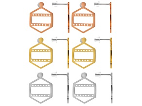 Centerline Earring Kit For Beading incl 2 Pairs Each in Rhodium Tone, Rose Tone & Gold Tone