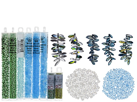 Bead Embroidery Supply Kit in Blues&Greens incl Seed Beads,Delicas,Daggers,4mm Bicones&Bugle Beads
