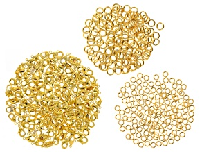 Assorted Findings Kit in Gold Tone incl Jump Rings & Clasps