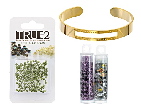 Centerstage Bracelet Project And Supply Kit in Purple, Green & Gold Tone
