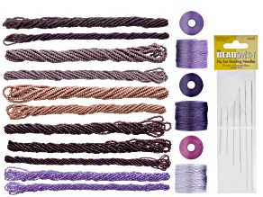 Kumihimo Color Suite in Purple & Pink with Bead Hanks, Nylon Thread & 6 Needles