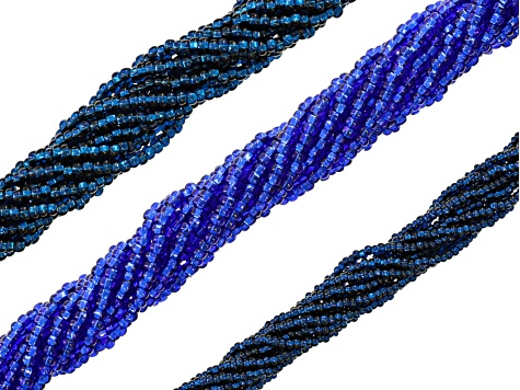 Kumihimo Color Suite in Blue & Green with Bead Strands, Nylon Thread & 6  Needles