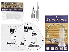 Kumihimo Braiding Tools & Instruction Set of bobbins, discs, weights & handle