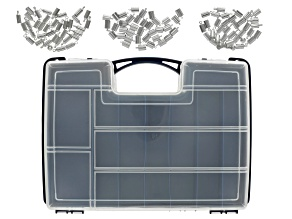 Double Sided Organizer and End Caps in Silver Tone in 3 Sizes 108 pieces