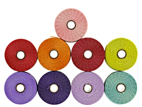 S-Lon Tex 135 Nylon Cord .4mm Set of 9 in Mix Winter Brights Colorway 118yd